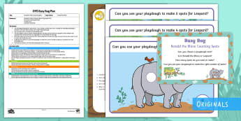 EYFS Ronald the Rhino Counting Spots Busy Bag Plan and Resource Pack - maths, number 2 year old, number counting, Twinkl Fiction, Rhinoceros, Leopard, numerals, malleable,