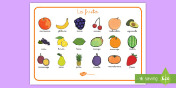Tapiz de vocabulario: La fruta - vocabulario, fruta, tapiz de vocabulario, frutas, manzana, platano, plátano, uvas, cereza, aguacate
