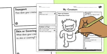 Design a Creature for a Habitat Worksheet / Activity Sheet - habitat, design, worksheet