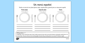 Ficha Diseña un menú - spanish, menu, menú, design, worksheet, ficha, comida, meal