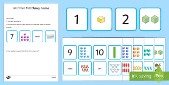 1-10 Number Matching Card Game - 1-10, number, matching, card, game, activity, match