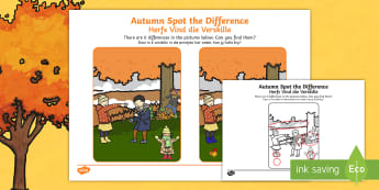 Autumn Spot the Difference Activity English/Afrikaans - weather, seasons, cold, chilly, wind, leaves, weer, EAL