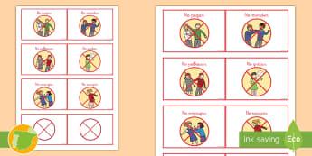 Tarjetas informativas: Las reglas de comportamiento - normas, clase, convivencia, aula, profesores, materiales, educación, respeto, aprendizaje, didácti