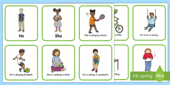 He And She Pronoun Picture Cards With Answers - visual aid, pronouns