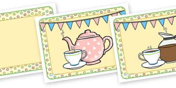 Tea Shop Role Play Place Mats - tea shop, role play, place mats, tea shop role play, tea shop place mats, role play place mats, place mats for tea shop