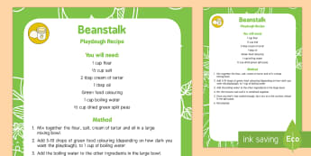 Beanstalk Playdough Recipe - Split peas, green, jack and the Beanstalk, Nick Butterworth, Jasper's Beanstalk