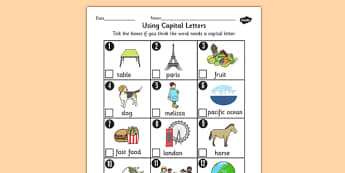 Using Capital Letters Worksheet - capital letters, worksheet