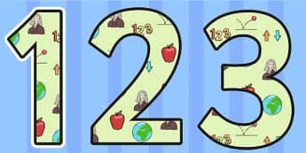 Isaac Newton Themed Display Numbers - isaac newton, display numbers, numbers, numbers for display, themed numbers, classroom display, numbers for display