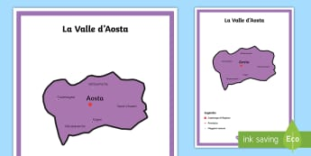 Scuola Primaria: La Valle d'Aosta Cartina Politica - italia, regioni, regionale, geografia, mappa, italiano, italian, materiale, scolastico