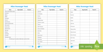 World Features Differentiated Atlas Scavenger Hunt Activity Sheet - Differentiated Atlas Scavenger Hunt Activity Sheet - atlas, scavenger hunt, activity, geography, geo