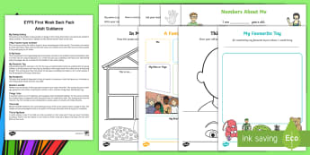 EYFS First Week Back Activity Pack with Adult Guidance - back to school, all about me, information and guidance, teaching ideas, new term