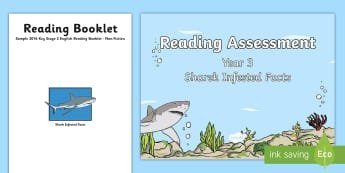 Year 3 Non Fiction Shark Infested Reading Assessment Resource Pack - Reading Practice Tests for Wales, Reading, reading, tests, test, profion, darllen a deall, year 3, y