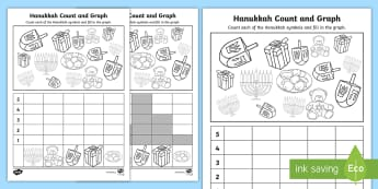 Hanukkah Count and Graph Activity Sheet - Jewish Holiday, Early Childhood Data and Measurement, Number Skills, Rote Counting, One to One correspondance