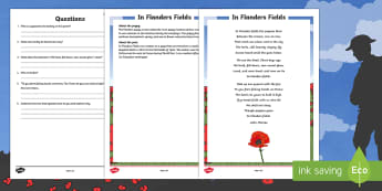 In Flanders Field Poem Comprehension Worksheet / Activity Sheet - New Zealand, Anzac Day, 25 April, ANZAC, Poppies, World War 1, worksheet, World War 2, Gallipoli, In