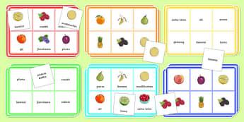 Fruit Bingo Gaeilge - Bia, Bingó, Torthaí, irish, food, game, activity, fruit, vocabulary