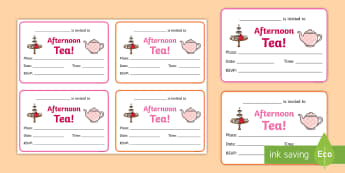 Afternoon Tea Invitation Writing Frames - party, invite, party food, role play, tea party,