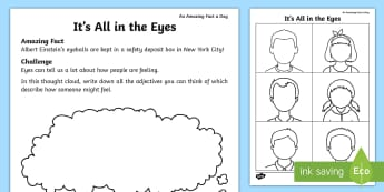 It's All in the Eyes Activity Sheet - eyes, faces, emotions, feelings, showing emotions, drawing feelings, how do you feel,amazing Fact Of