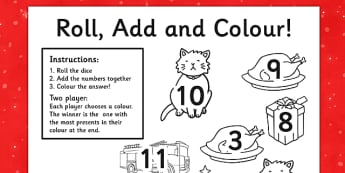 Christmas Cat Themed Roll and Colour Worksheet - christmas cat, mog, roll, colour, colouring in