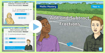Year 4 Add and Subtract Fractions Maths Mastery PowerPoint - Reasoning, Greater Depth, Abstract, Problem Solving, Explanation,
