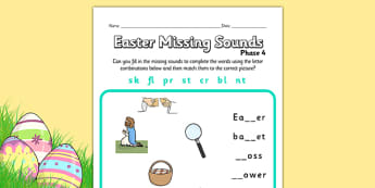 Easter Phase 4 Missing Blends Worksheet - easter, phase 4, phases