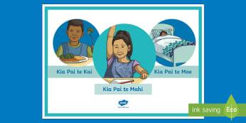Eat Well, Sleep Well, Work Well Display Poster Te Reo Māori -  Hauora, Tinana, Te Reo Māori, healthy, wellness, life attitude