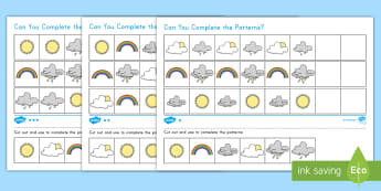 Weather Differentiated Complete the Pattern Worksheet / Activity Sheet - weather, patterns, complete the pattern, weather patterns, differentiated, differentiated pattern ac