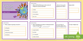 Year 6 AC Geography Cultural Diversity Quiz Cards - ACHASSK140, prior knowledge, formative assessment,Australia