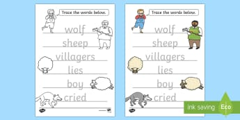 The Boy Who Cried Wolf Trace the Words Worksheets - aesops fables