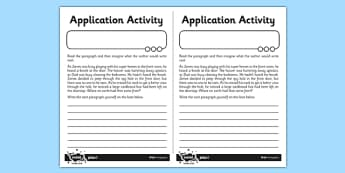 Paragraphs Application Worksheet / Activity Sheet - GPS, sentence, text, cohesion, worksheet