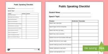 Public Speaking Checklist - Oral presentation, listening and Speaking, oral literacy, Speech, English,Australia