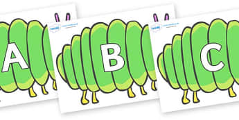 A-Z Alphabet on Fat Caterpillars to Support Teaching on The Very Hungry Caterpillar - A-Z, A4, display, Alphabet frieze, Display letters, Letter posters, A-Z letters, Alphabet flashcards