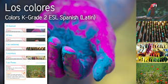Imagine Colors K Grade 2 Resource Pack Spanish (Latin) - Colour, paint, flower, festival, parrot, window, ESL, EAL, Spanish-translation