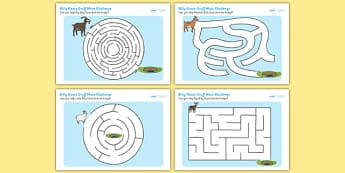 The Billy Goats Gruff Differentiated Maze Activity Sheet Pack, worksheet