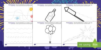 New Year's Pencil Control Sheets English/Portuguese - new years, pencil control, sheets, pencil, control, pencilcontrol, happynewyear, new yeAT, NEW YAR,