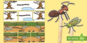 The Cicada and the Ant Small World Play Idea and Printable Resource Pack - Traditional, Thai, Tales, story, folktale, fable, moral, message, stick puppets