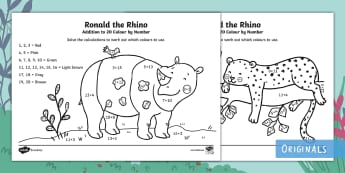 Ronald the Rhino Addition to 20 Colour by Number - Twinkl originals, fiction, KS1, EYFS, colouring, maths, adding, add, numeracy