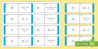Stellenwert zwei Stellen Dominokarten  - Zahlen, Einer, Zehner, Hunderter, Rechnen, Zählen,,German