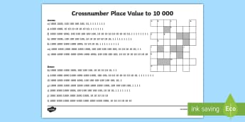LKS2 Crossnumber Place Value to 10 000  Activity Sheet - Crossword, Across, Down, Dienes, Tens And Units