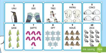 Numerele de la 1 la 10 ilustrate pe tema iernii Planșe - numerație, numărul și cifra, numere ilustrate, numere, numaram, Romanian-translation