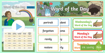 Year 3 Spring 2 Word of the Day Display Pack - Vocabulary, Spelling, Nouns, Adjectives, Adverbs, Verbs, Multisyllabic Words.