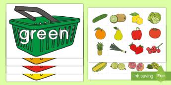 Healthy Foods Color Sorting Activity - healthy living, healthy foods, healthy habits, worksheet / activity sheets, color sorting, healthy foods color s