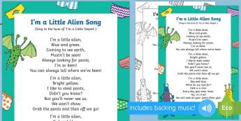 I'm a Little Alien Song - EYFS, Early Years, Aliens Love Underpants, Claire Freedman, space, aliens.