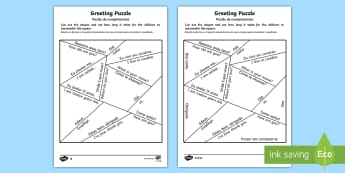 Greetings Puzzle English/Portuguese - portugal, mfl, languages, EAL, words