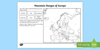 Europe Mountain Ranges Worksheet - european countries, geography