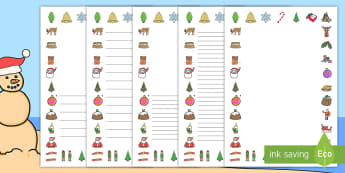 Christmas Page Border Pack English/Afrikaans  - December, Santa, Christmas tree, writing, skryf, Kersvader, EAL