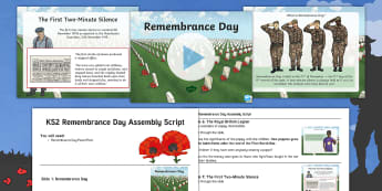 KS2 Remembrance Day Assembly Pack - Armistice Day, Poppies, Poppy Day, World War One, 11th November