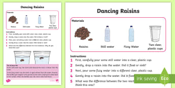 KS1 Dancing Raisin Science Experiment -  challenge, question, discover, find out, difference