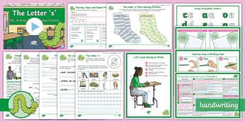The Journey to Continuous Cursive: The Letter 's' (Curly Caterpillar Family Help Card 5) KS2 Activity Pack - handwriting, Nelson handwriting, penpals, fluent, joined, legible