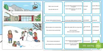 Winter Scenes and Question Cards English/German - EAL, German, Pack, winter, winter,German-translation, describe, preposition