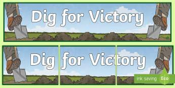 Dig for Victory Display Banner - war display, history display, imports, vegetables, growing Vegetables,
